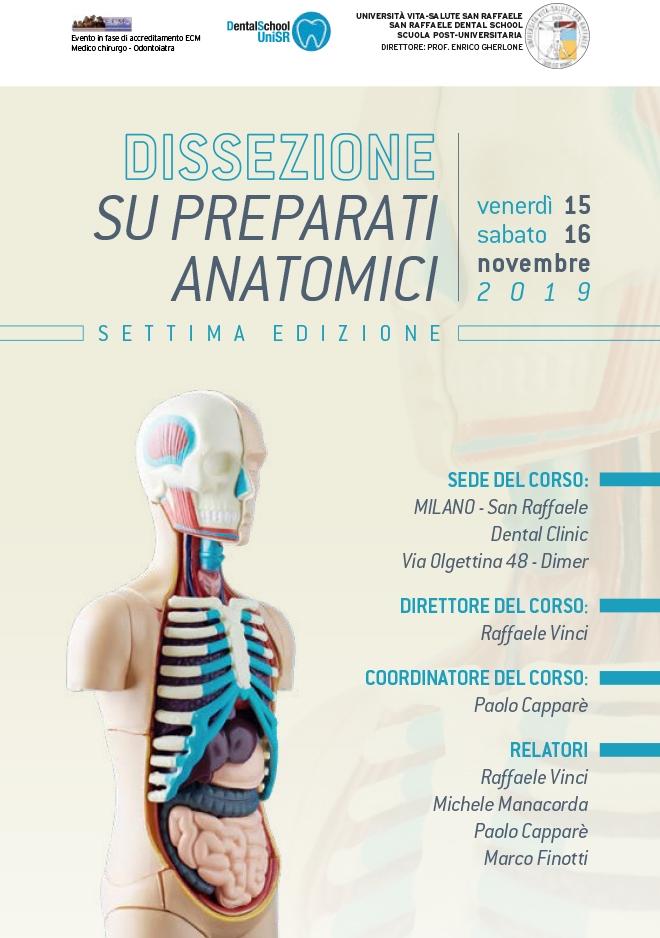 Corso Dissezione su preparati anatomici – Milano, 15-16 Novembre 2019
