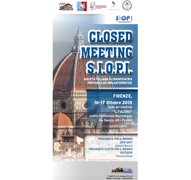 Closed Meeting S.I.O.P.I. – Firenze, 16 e 17 Ottobre 2015