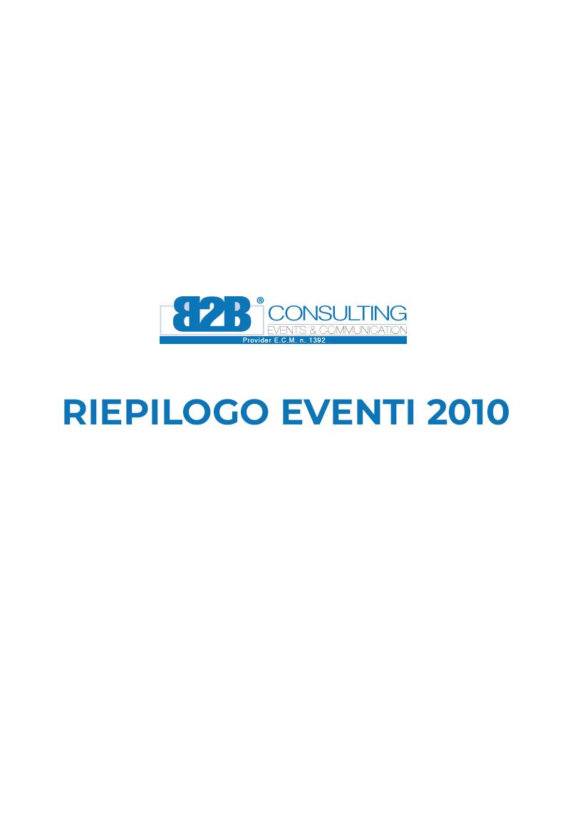 Riepilogo Eventi 2010