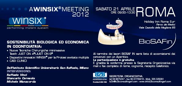 Meeting Winsix – Sostenibilità biologica ed economica in Odontoiatria – BioSAF IN