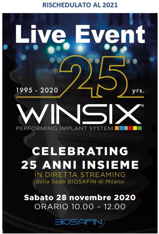 """Live Event """"25 anni WINSIX"""" – Diretta Streaming"""