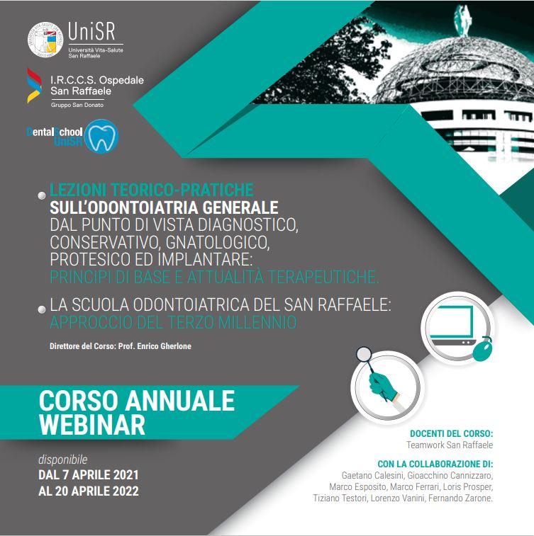 Corso annuale webinar – Lezioni teorico-pratiche sull'Odontoiatria generale – SAN RAFFAELE – Milano